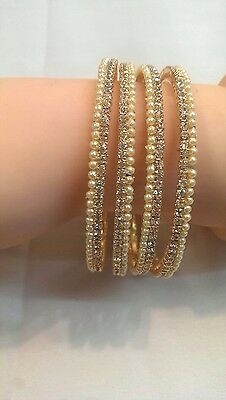Pearl Traditional Indian Silver Stone Bangles Kada Bollywoodparty Jewellery 4Pcs