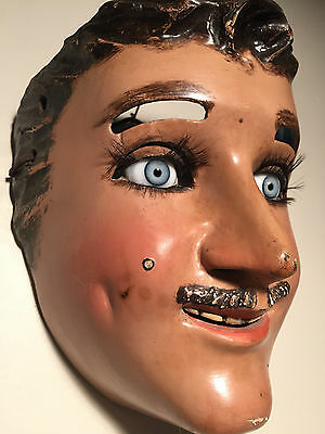 Vintage 1940 Mexican Catrine (Dandy) Mask w/ Mechanical Eye-lids & Glass Eyes