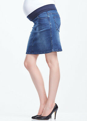 New - Soon Maternity - Vintage Blue Wash Denim Skirt - Maternity Clothes