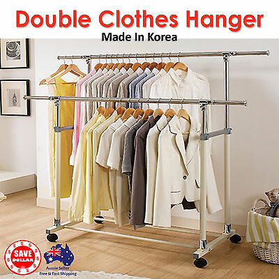 Portable Double Stainless Steel Clothes Garment Rack Hanger Organizer Heavy Duty