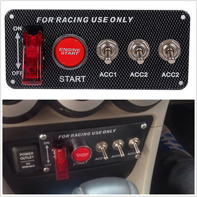 Car Electronic Ignition Engine Panel 5 Switching Start Push Toggle Carbon Button
