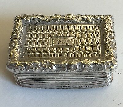 Antique Georgian Solid Silver Vinaigrette By William Simpson 1825 Dented