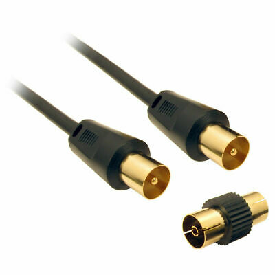 RF Coaxial TV Aerial Lead Coax Plug to Socket Black Cable GOLD 2m 3m 5m 10m 20m
