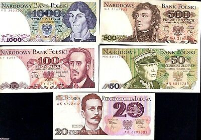 Poland 1982/1988 -  20, 50,100, 500 ,1000 Zlotych , Banknote set of 5 UNC