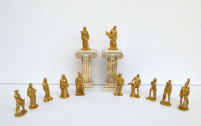 Olympians Gods statue set color Gold plus 2x columns sculptures artifact