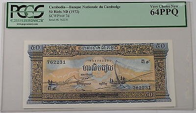 (1972) Cambodia 50 Riels Note SCWPM# 7D PCGS 64 PPQ Very Choice New