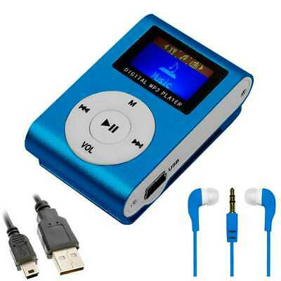 MP3 Mini lettore con Radio FM Player Music Blu + Cuffie 3.5 mm + Cavo Mini USB
