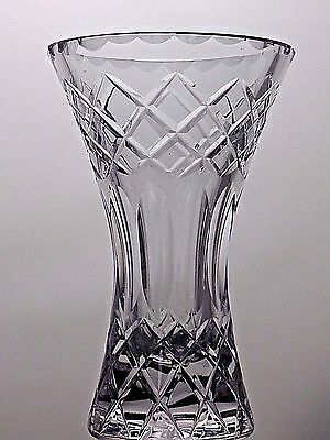 Galway Crystal Heavy Medium Cut Glass Lead Crystal Vase -Signed -18.5 Cm- 1.4 Kg