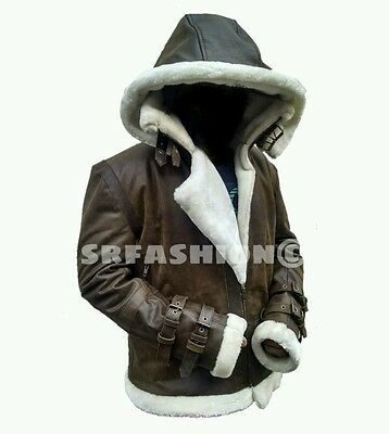 Men's B3 Shearling Flight Bomber Distress Brown Vintage Cowhide Leather Jacket