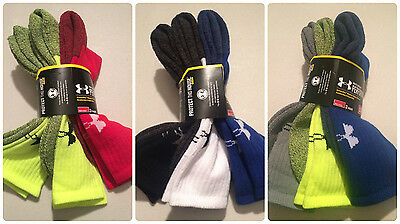 Mens Under Armour Performance U959 Crew Socks Large 3 Pack NWT [ Select Color ]