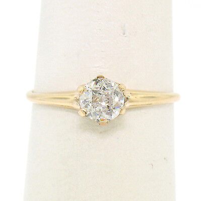 Antique Victorian 14k Yellow Gold .45ct Old Cut Prong Set Diamond Solitaire Ring