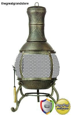 Patio Chiminea Fireplace Backyard Outdoor Fire Pit Burning Cast Iron Heater Wire