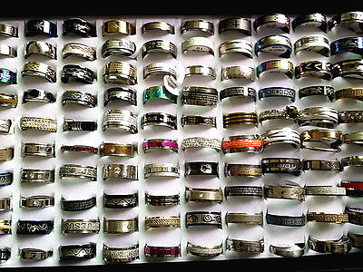 wholesale lot 100PCs mix styles mens womens stock stainless steel jewelry rings