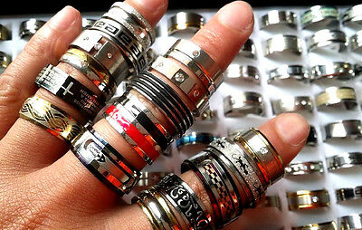 wholesale 20/50/100 quality mens womens stainless steel stock ring free shipping