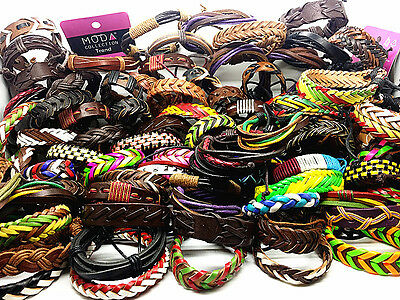 wholesale 30pcs Hundreds of different styles Leather Retro Ethnic Cuff Bracelets