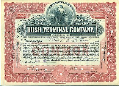 Bush Terminal Company Stock Certificate New York Shipping Railroad Red