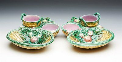 Pair Antique George Jones Majolica Strawberry Serving Dishes 1868