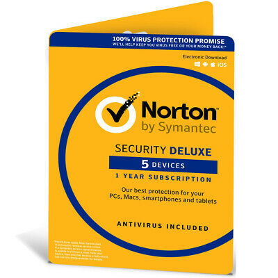 Norton Internet Security DELUXE 2019 For 5 Devices 1 Year Antivirus / By POST