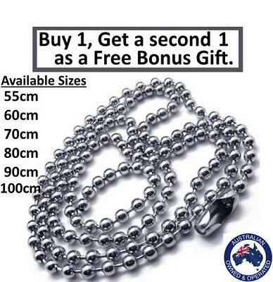 316L Stainless Steel Ball Necklace Chain Silver Colour Various Sizes 2.4mm Bead