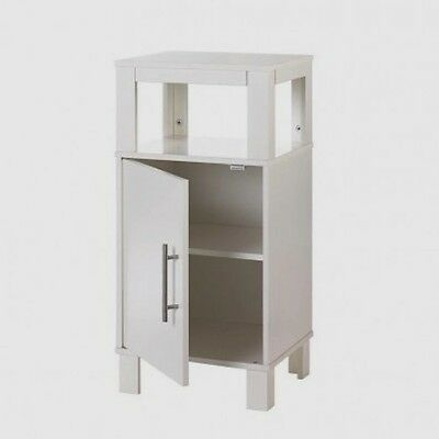 """Cabinet Table Nightstand w Shelf White Side Table 27 1/2"""" High"""