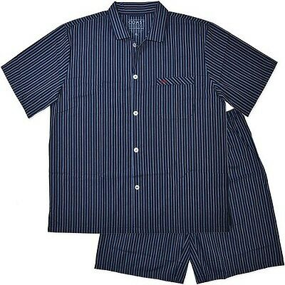 New Mens Summer Woven Short Navy Stripe Pyjamas Pjs Sleepwear Sizes S-3XL