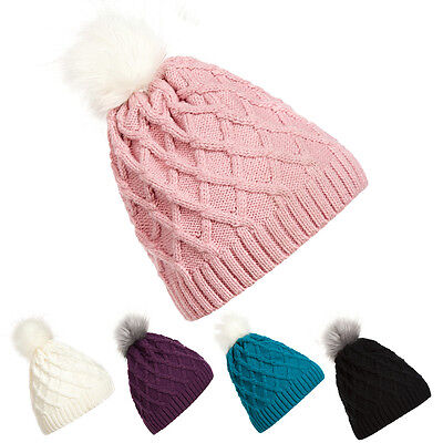 Fashion Women Winter Warm Ski Cable Wool Knit Knitted Bobble Pom Beanie Cap Hat