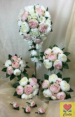 Artificial silk flower L/ pink/cream peony teardrop bridal wedding bouquet set