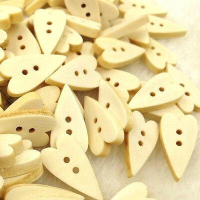 10/50/100/500pcs Mix Love Heart kid's Wood Buttons Sewing Craft 2 Holes WB95