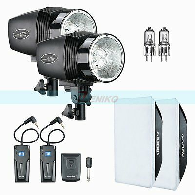 Godox K-150A 300W(2x150W) Studio Strobe Flash +Trigger +Softbox +Extra Bulb Kit