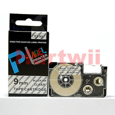 "Compatible Casio XR-9X Black on Clear 3/8 x 26""  Label Tape KL-500 KL-60 XR-9X1"