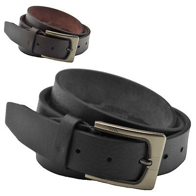 "Mens 1"" (25mm) Genuine Leather Backed Belt with Grain Effect"