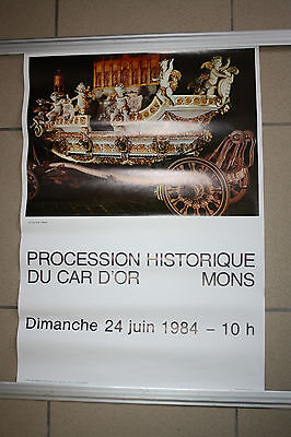 Aff Procession Ducasse Messine Mons doudou car d'or lumeçon beffroi st Georges