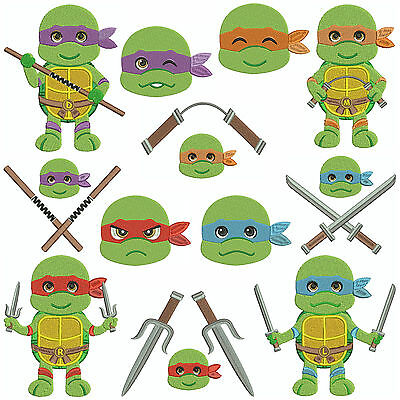 * TURTLE POWER * Machine Embroidery Patterns * 12 Designs, 2 Sizes