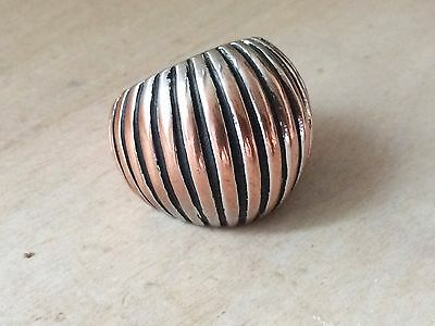 Vintage Mixed Alloy Pink Silver Striped Dome Cocktail Ring sz. 6