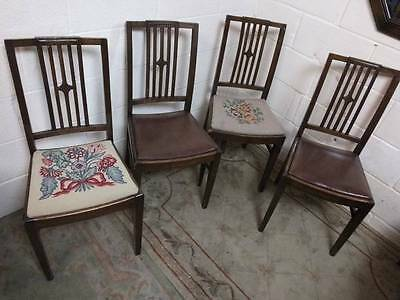 4 x 1920's MAHOGANY CARVED SPINDLE BACK KITCHEN / DINING CHAIRS. Req Cleaning