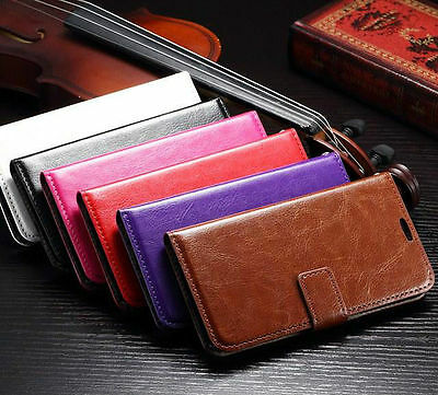 Leather Flip Wallet Stand Card Case Cover For Various Mobile Phone