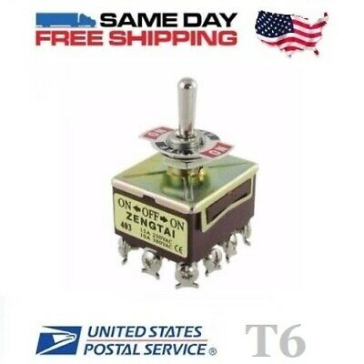 QPDT ~ Quad 4 Pole Double Throw 4PDT 12-Pin (ON-OFF-ON) 15a Toggle Switch