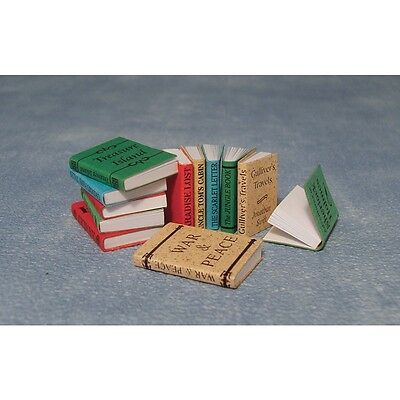 Dolls House Miniatures 1/12th Scale Pack 12 Books Dolls House Accessory D2349 *