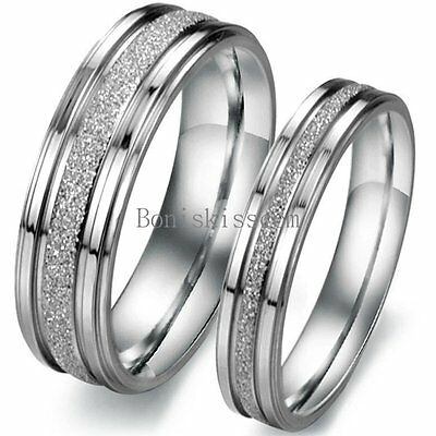 Silver Frosted Stainless Steel Love Promise Ring Couple Engagement Wedding Band