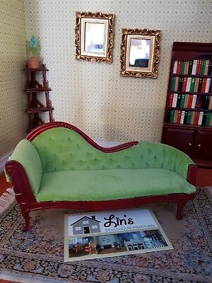 Dolls House Miniatures 1/12th Scale Green Chaise Longue DF874 NEW