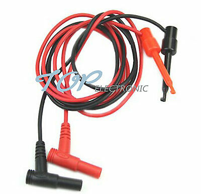1Pair Multimeter Test Equipment Banana Plug To Test Hook Clip Probe Cable NEW