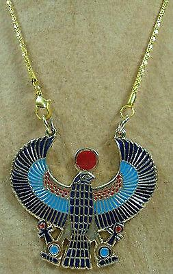 Egyptian King Horus Falcon Pharaoh Jewelry Necklace Pendant Enamel God Sky 102
