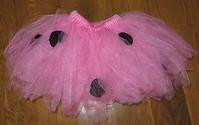 Pretty PINK Ballet/Dance TUTU with Black ROSETTES Little Girl ONE SIZE