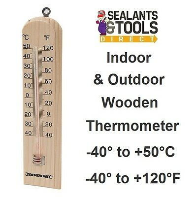 Wood Indoor Outdoor Garden Greenhouse Garage Wall Thermometer Internal External