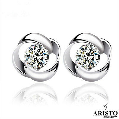New 925 Sterling Silver Whirl Stud Earrings Jewellery Womens Valentine Gift UK