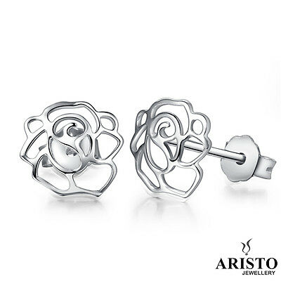 925 Sterling Silver Hollow Flower Stud Earrings Jewellery Womens Ladies Gifts UK