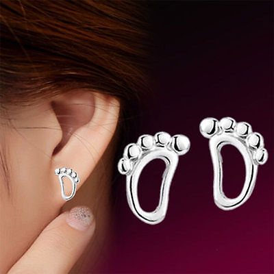 925 Sterling Silver Footprint Stud Earrings Jewellery Womens Ladies Gifts UK New