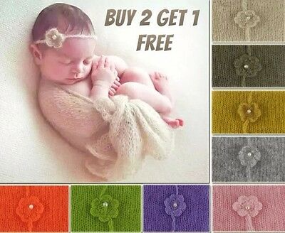Baby Newborn Soft MOHAIR Wrap Swaddle Cheesec Headband Set Photography Prop