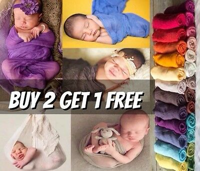 Soft Stretch Cheesecloth Wrap Swaddle Baby Newborn Photography Prop Backdrop