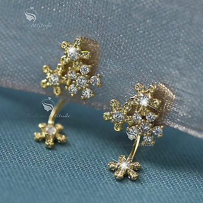 18k gold gp made with SWAROVSKI crystal earrings 925 silver mini ear jacket